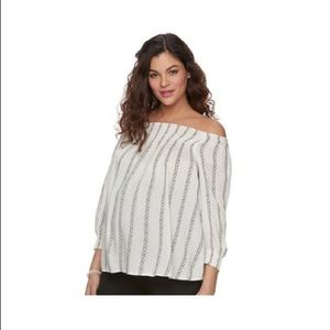 Maternity off the shoulder smocked top NWT